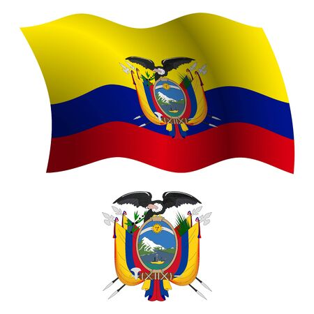 ecuador wavy flag and coat of arms against white background, vector art illustration, image contains transparency 向量圖像