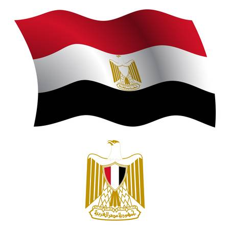 egypt wavy flag and coat of arms against white background, vector art illustration, image contains transparency