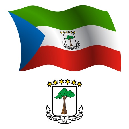 equatorial guinea wavy flag and coat of arms against white background, vector art illustration, image contains transparency