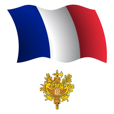 france wavy flag and coat of arms against white background, vector art illustration, image contains transparency Stock Vector - 21366164