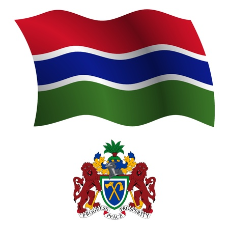 white coat: gambia wavy flag and coat of arms against white background, vector art illustration, image contains transparency