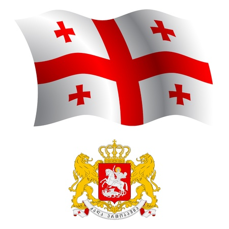 white coat: georgia wavy flag and coat of arms against white background, vector art illustration, image contains transparency