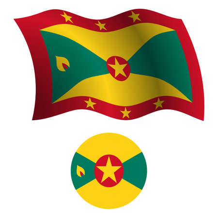grenada wavy flag and icon against white background, vector art illustration, image contains transparency
