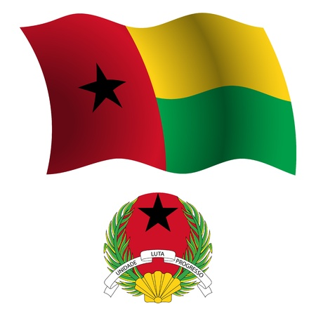 bissau: guinea bissau wavy flag and coat of arms against white background, vector art illustration, image contains transparency Illustration