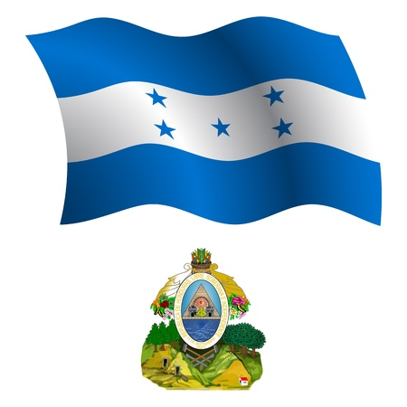honduras wavy flag and coat of arms against white background, vector art illustration, image contains transparency Stock Vector - 21366177