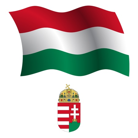 flagpole: hungary wavy flag and coat of arms against white background, vector art illustration, image contains transparency Illustration