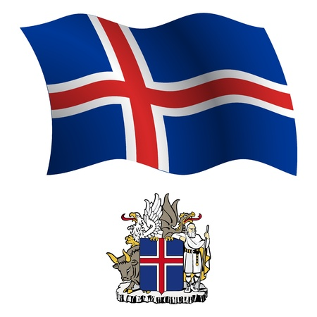 iceland wavy flag and coat of arms against white background, vector art illustration, image contains transparency