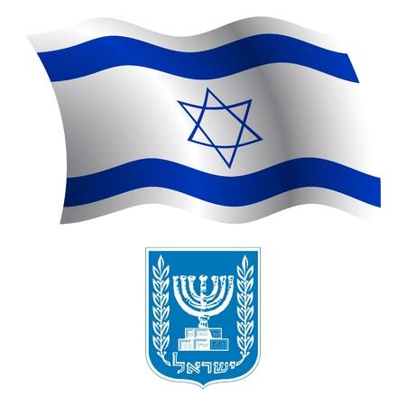Israël drapeau onduleux et des armoiries sur fond blanc, vecteur art illustration, image contient de la transparence Banque d'images - 21366190