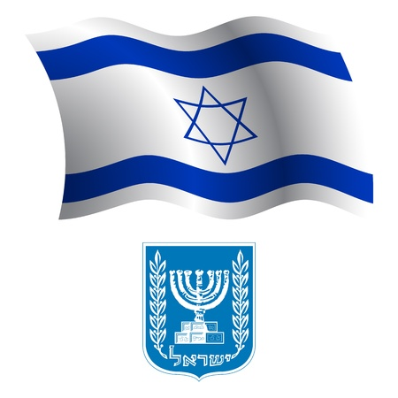 israel wavy flag and coat of arms against white background, vector art illustration, image contains transparency Çizim