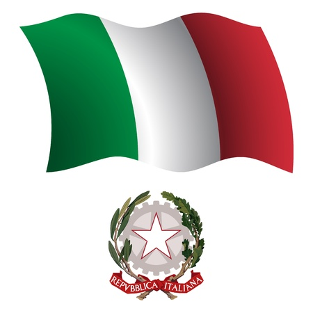 italy wavy flag and coat of arms against white background, vector art illustration, image contains transparency Illustration