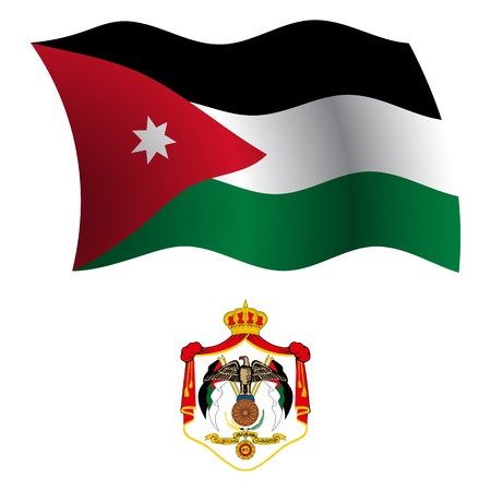 jordan wavy flag and coat of arms against white background, vector art illustration, image contains transparency Illustration