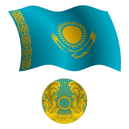 kazakhstan wavy flag and coat of arms against white background, vector art illustration, image contains transparency