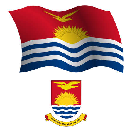 kiribati: kiribati wavy flag and coat of arm against white background, vector art illustration, image contains transparency