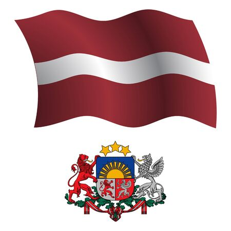 white coat: latvia wavy flag and coat of arm against white background, vector art illustration, image contains transparency