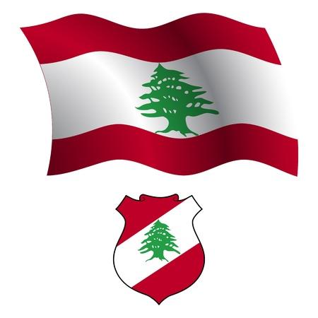 Liban drapeau ondulée et le manteau des bras contre un fond blanc, vecteur art illustration, image contient de la transparence Banque d'images - 21366201