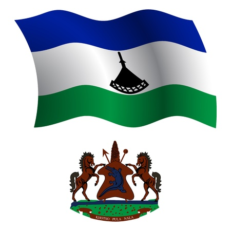 lesotho: lesotho wavy flag and coat of arm against white background, vector art illustration, image contains transparency