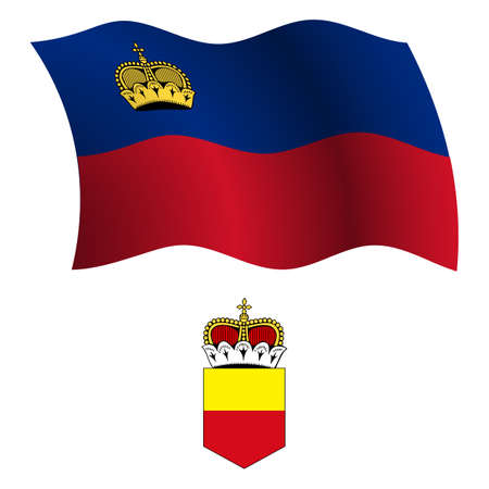 liechtenstein wavy flag and coat of arm against white background, vector art illustration, image contains transparency Vector
