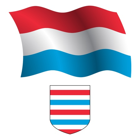 luxembourg wavy flag and coat of arm against white background, vector art illustration, image contains transparency