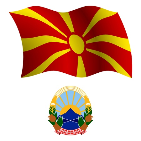 macedonia wavy flag and coat of arm against white background, vector art illustration, image contains transparency