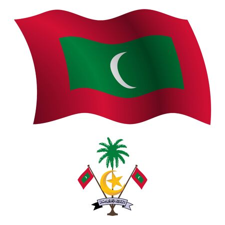 maldives wavy flag and coat of arm against white background, vector art illustration, image contains transparency