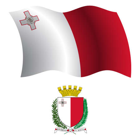 malta wavy flag and coat of arm against white background, vector art illustration, image contains transparency