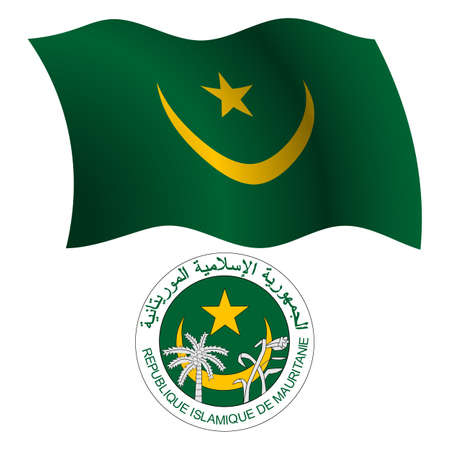 mauritania wavy flag and coat of arm against white background, vector art illustration, image contains transparency