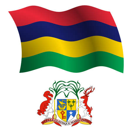 mauritius wavy flag and coat of arm against white background, vector art illustration, image contains transparency
