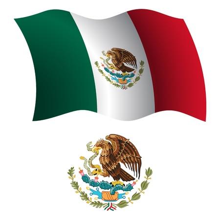 UNIS DU MEXIQUE Drapeau onduleux et le manteau des bras contre un fond blanc, vecteur art illustration, image contient de la transparence Banque d'images - 21370909