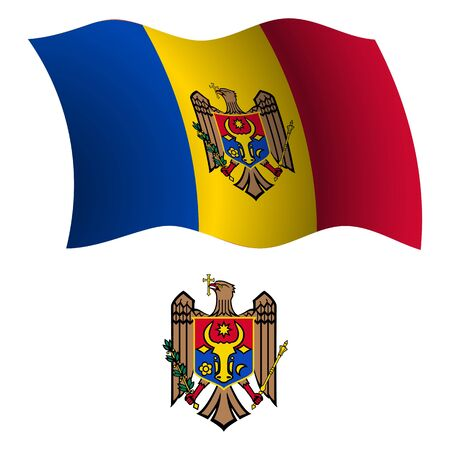 moldova wavy flag and coat of arm against white background, vector art illustration, image contains transparency Illustration