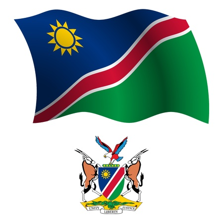 namibia: namibia wavy flag and coat of arm against white background, vector art illustration, image contains transparency Illustration