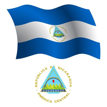 nicaragua wavy flag and coat of arms against white background, vector art illustration, image contains transparency Illustration