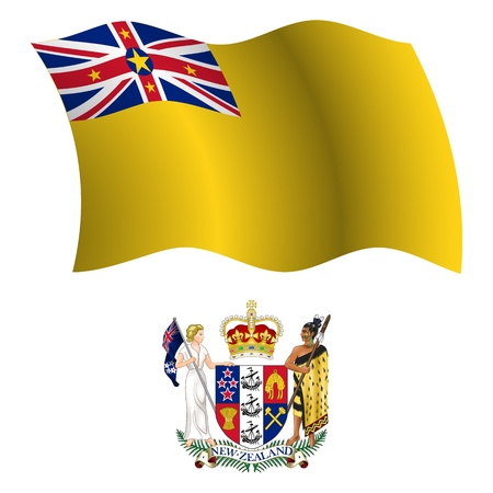 niue: niue wavy flag and coat of arm against white background, vector art illustration, image contains transparency