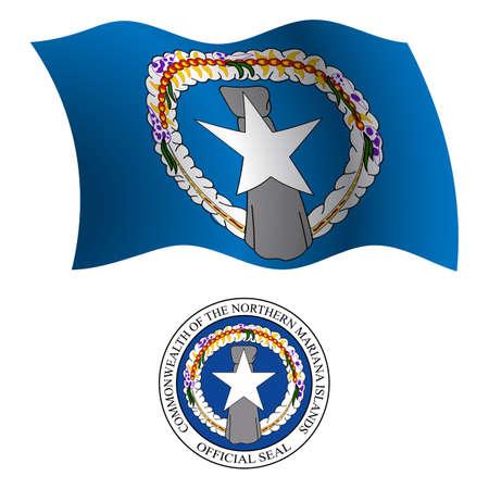 LE Mariannes du nord drapeau ondulé et le manteau des bras contre un fond blanc, vecteur art illustration, image contient de la transparence Banque d'images - 21370935