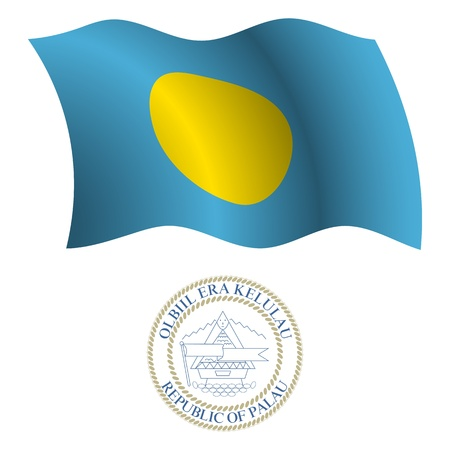 palau wavy flag and coat of arm against white background, vector art illustration, image contains transparency