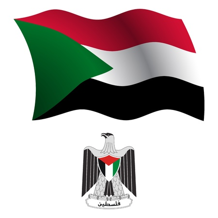 palestine wavy flag and coat of arm against white background, vector art illustration, image contains transparency