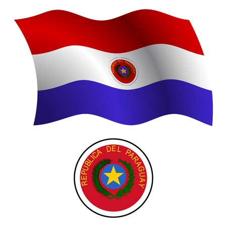 paraguay wavy flag and coat of arm against white background, vector art illustration, image contains transparency Vector