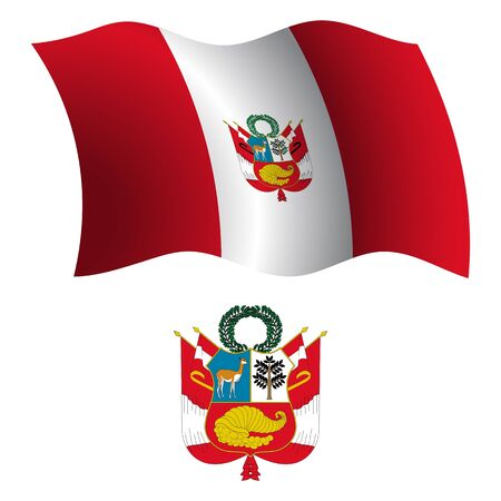 peru wavy flag and coat of arm against white background, vector art illustration, image contains transparency