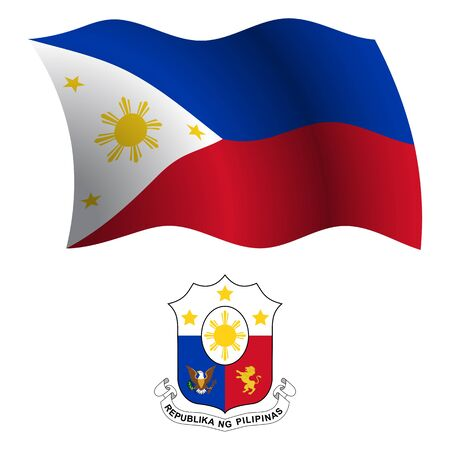 philippines wavy flag and coat of arm against white background, vector art illustration, image contains transparency Illustration