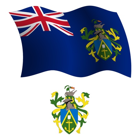 pitcairn: pitcairn islands wavy flag and coat of arm against white background, vector art illustration, image contains transparency