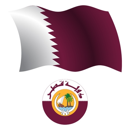 qatar wavy flag and coat of arm against white background, vector art illustration, image contains transparency Illustration