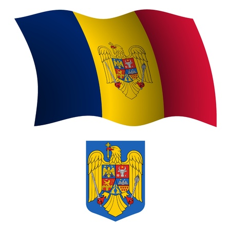 romania wavy flag and coat of arm against white background, vector art illustration, image contains transparency