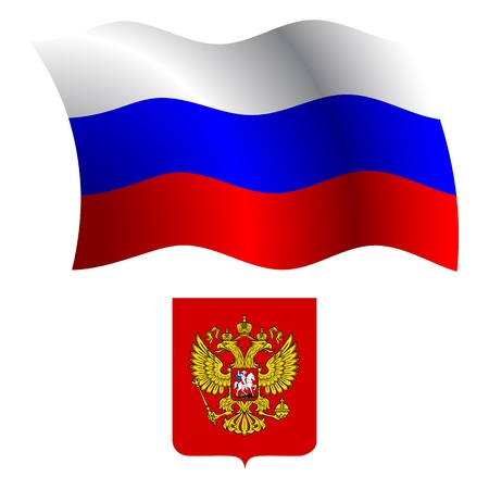 russia wavy flag and coat of arm against white background, vector art illustration, image contains transparency Illustration