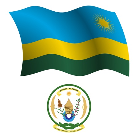 rwanda wavy flag and coat of arm against white background, vector art illustration, image contains transparency