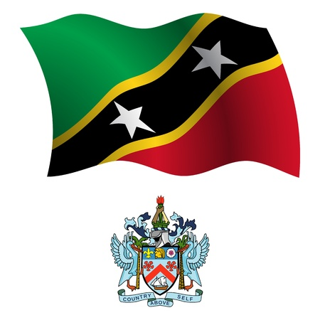 white coat: saint kitts and nevis wavy flag and coat of arm against white background, vector art illustration, image contains transparency