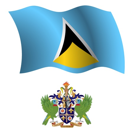 saint lucia wavy flag and coat of arm against white background, vector art illustration, image contains transparency