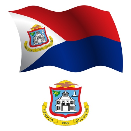 saint martin wavy flag and coat of arm against white background, vector art illustration, image contains transparency