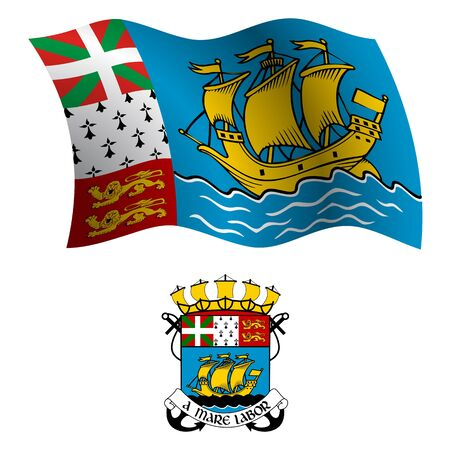 saint pierre and miquelon wavy flag and coat of arm against white background, vector art illustration, image contains transparency