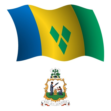 saint vincent and the grenadines wavy flag and coat of arm against white background, vector art illustration, image contains transparency