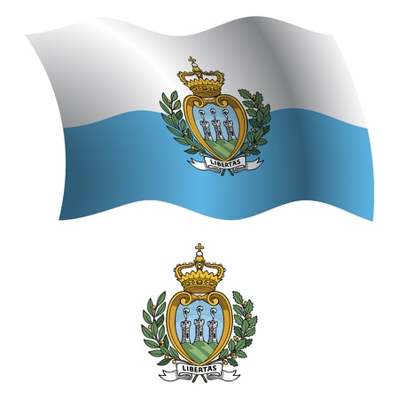san marino wavy flag and coat of arm against white background, vector art illustration, image contains transparency Vector