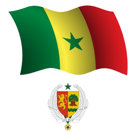 senegal wavy flag and coat of arm against white background, vector art illustration, image contains transparency Vector